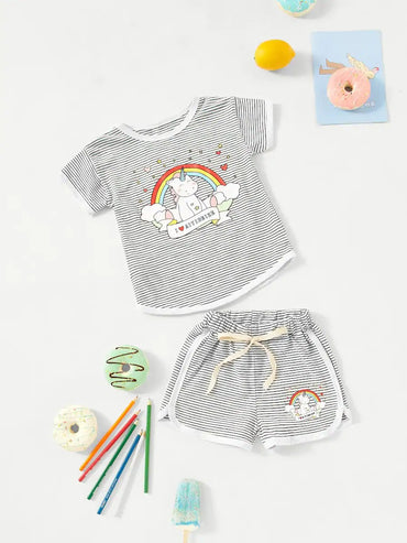 Girls Unicorn Print Striped Top With Shorts