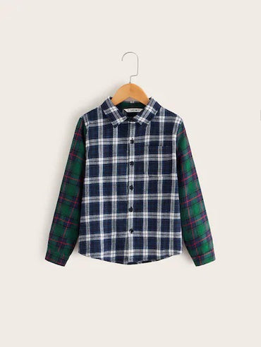 SHEIN Boys Contrast Sleeve Pocket Patched Plaid Shirt