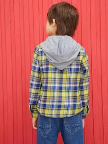 SHEIN Boys Pocket Patched Contrast Hooded Plaid Shirt