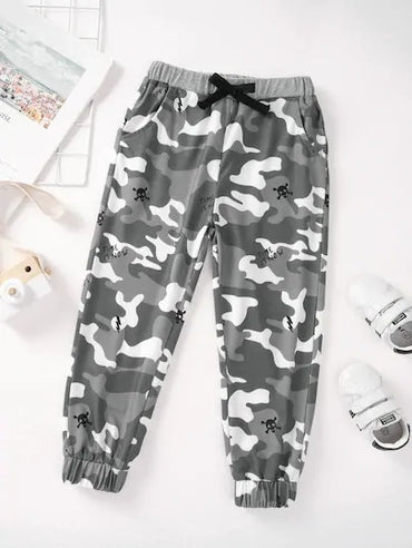 Toddler Boy Letter & Halloween Print Drawstring Pants