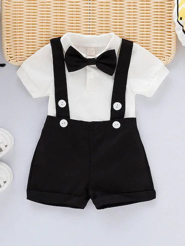 Toddler Boys Bow Tie Jumpsuit & Straps Shorts