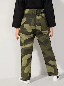 Toddler Boys Camo Print Flap Pocket Side Cargo Pants