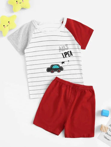 Toddler Boys Car Patched Striped Pajama Set