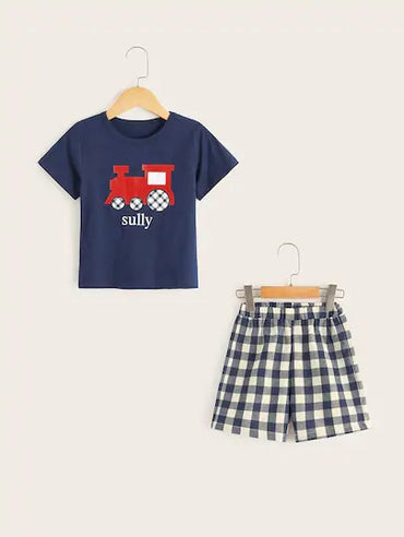 Toddler Boys Car Print Plaid Pajama Set