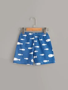 Toddler Boys Cat & Fish Print Pajama Set