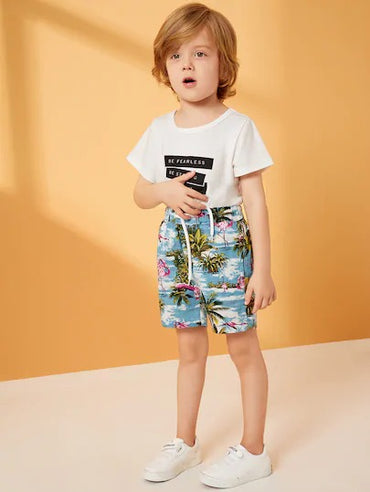 Toddler Boys Coconut Trees Print Drawstring Bermuda Shorts