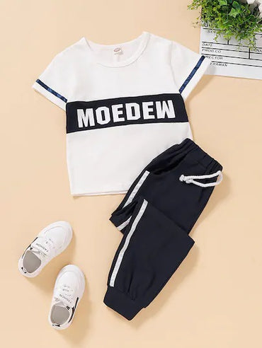 Toddler Boys Color-Block Letter Print Tee With Sweatpants