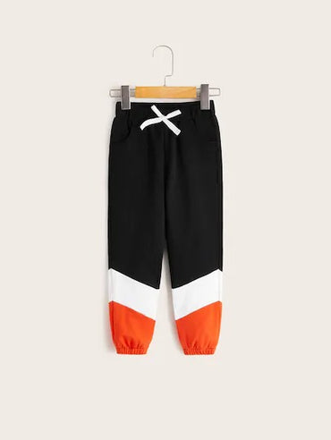 Toddler Boys Cut And Sew Panel Knot Front Sweatpants