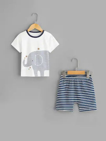 Toddler Boys Elephant Print Striped Pajama Set