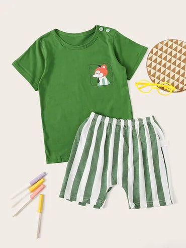 Toddler Boys Fox Print Striped Pajama Set