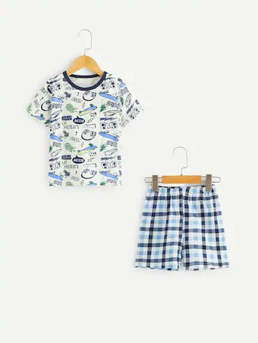 Toddler Boys Graphic Print Plaid Pajama Set
