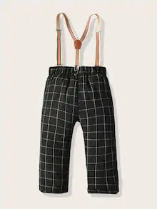 Toddler Boys Grid Plaid Straight Leg Pants With Straps