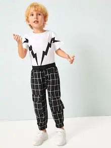 Toddler Boys Grid Pocket Detail Pants
