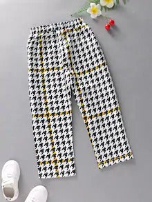 Toddler Boys Houndstooth Knot Straight Leg Pants
