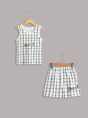 Toddler Boys Letter Print Plaid Pajama Set
