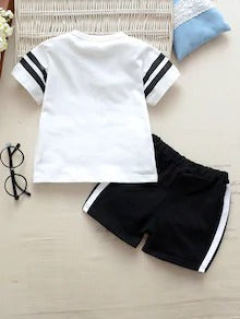 Toddler Boys Letter Print Side Stripe Tee With Track Shorts