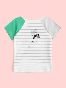 Toddler Boys Letter Print Striped Top