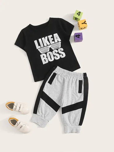Toddler Boys Letter Print Tee With Contrast Panel Sweatpants