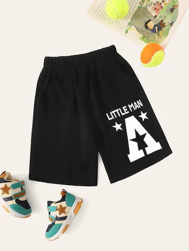 Toddler Boys Letter & Star Print Tract Shorts