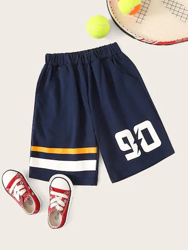 Toddler Boys Letter & Stripe Print Tract Shorts