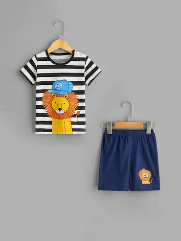 Toddler Boys Lion Print Striped Pajama Set