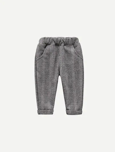 Toddler Boys Plaid Embossed Pants