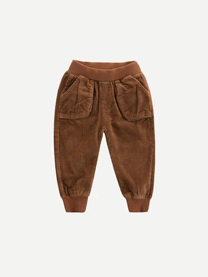 Toddler Boys Pocket Detail Solid Corduroy Pants