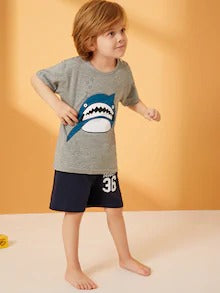 Toddler Boys Shark & Letter Print Pajama Set