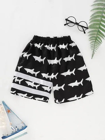 Toddler Boys Shark Print Elastic Waist Shorts