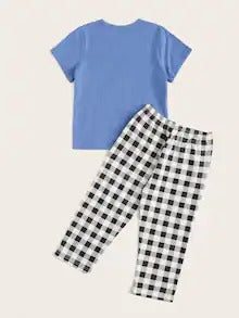 Toddler Boys Shark Print Plaid Pajama Set