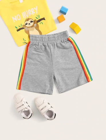 Toddler Boys Side Rainbow Stripe Tape Track Shorts