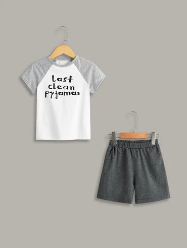 Toddler Boys Slogan Print Pajama Set