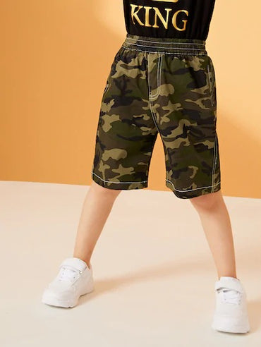 Toddler Boys Topstitching Camo Bermuda Shorts