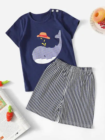 Toddler Boys Whale Print Striped Pajama Set