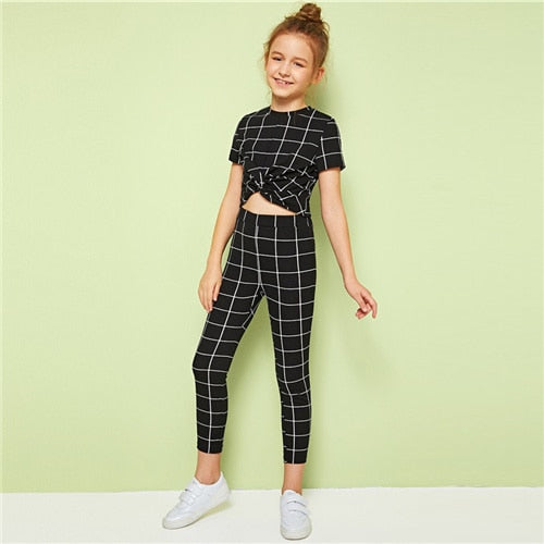 Kiddie Girl Black Plaid Stand Collar Twist Front Top And Leggings Casual Set