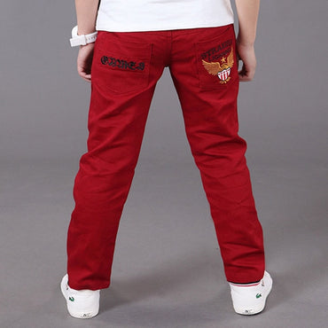 Boy casual Solid Cotton Mid Elastic Waist Pants
