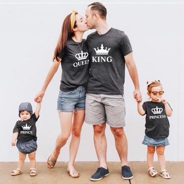 Father mother daughter son crown t shirt family matching clothes outfits