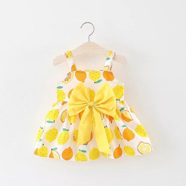 Baby Girl Sleeveless Print Bow Party Princess Dress