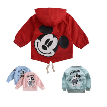 Toddler Kids Girls Jackets For Baby Clothes Cartoon Mickey Pattern Boys Hooded Mickey Windbreaker For Baby Boys Dust Coat 80-130
