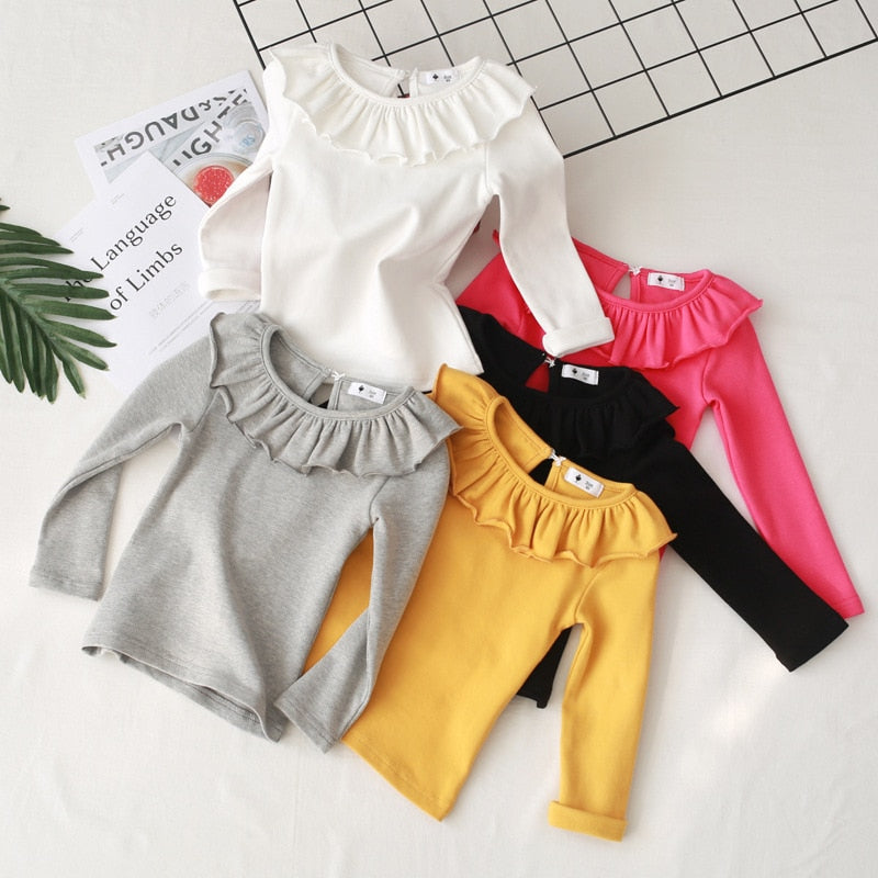 Girls Cotton Long Sleeve Solid Basic Shirt