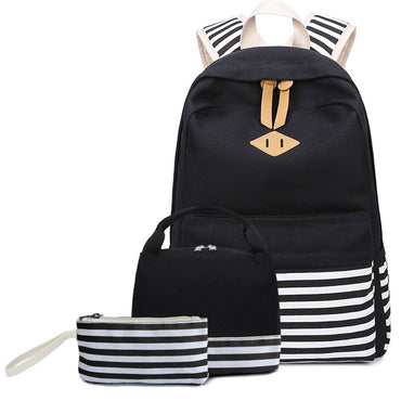 School Bag Sets for Girls Women's Canvas Striped Backpack