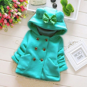 hooded shirt bow pocket double-breasted outerwear