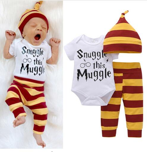 3PCS Unisex Baby Clothing Set  Letter Wizard Tops Bodysuit+Stripe Pants+Hat Outfits