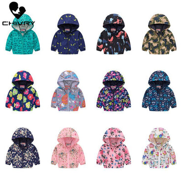 Children Hooded Zipper Windbreaker Baby Fashion Print Coat