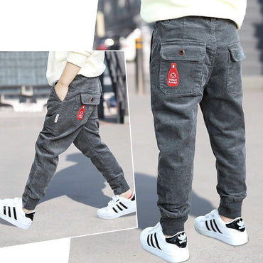 Hot boys 3-13 years old Multi-pocket Corduroy pants sports and leisure cargo pants