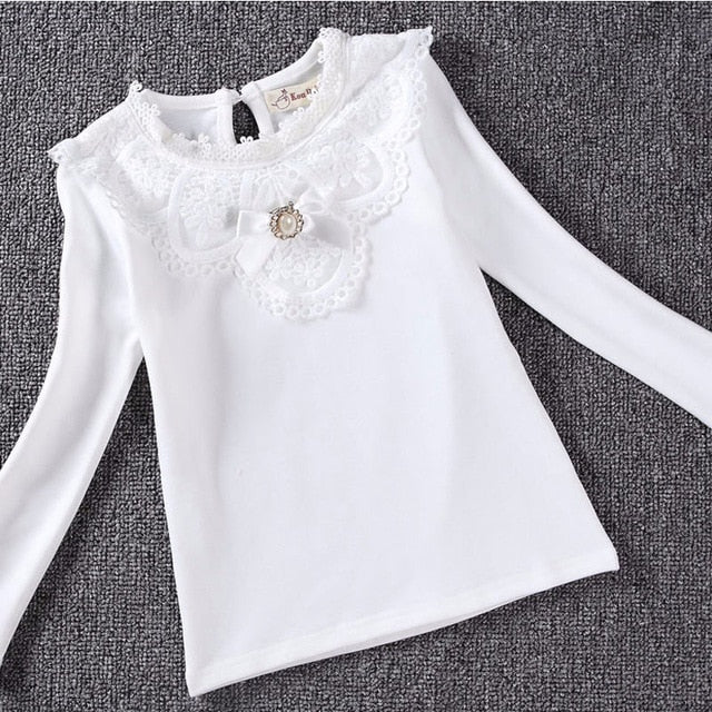 Fashion Girls Lace Cotton Long-Sleeve Shirt