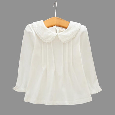 Girls Cotton Lace Shirt Turn-down Collar Blouse