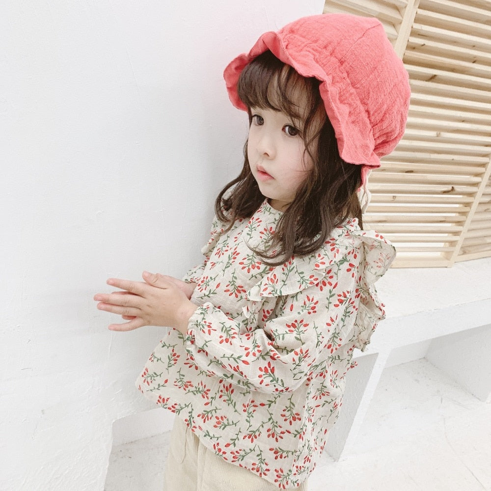 Cute Girl Flower Print Long Sleeves Cotton Blouse