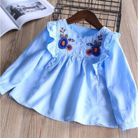 Girls ruffles embroidery flower shirt