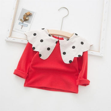 Korean Style Girl Spotted Petal Collar Blouse